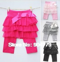 (4pcs/lot)Fashion baby girl net yarn capri pants princess pantskirt girls skirt leggings trousers knee length Free shipping