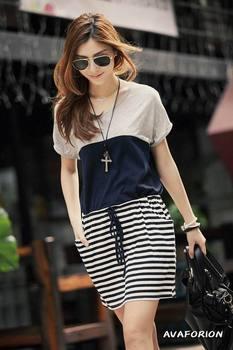 Hot!Promotion Summer Korean Stitching Color Stripe Waist Women Short Sleeve Casual Dress Pockets Large Size Dress