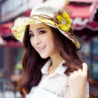 summer rhinestone flower sunbonnet women's sun hat big sun hat