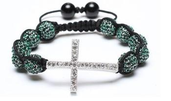 10 bead + cross Shamballa jewelry Wholesale green Hip Hop Cross Beads Shamballa Bracelet bangle kyt532