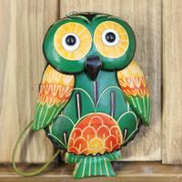 Genuine leather coin purse female cartoon animal owl coin case small cowhide handmade bag
