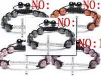 10 bead + cross Shamballa jewelry Wholesale   Hip Hop Cross Beads Shamballa Bracelet bangle Multicolor optional FWR2657