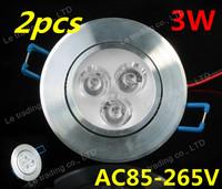 2pcs 3W AC85~265V Downlights LED Bulb white/warm white LED Lights High quality Free Shipping