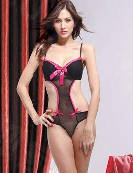 1 Sexy Black Fuschia Bowknot Bodysuit Teddy Lingerie Night Sleepwear,M-L