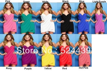 free shipping 2013 New Sexy Women Open-Back Wrap Front Swimsuits Bikini Cover Up Beach Dress  .beach wear