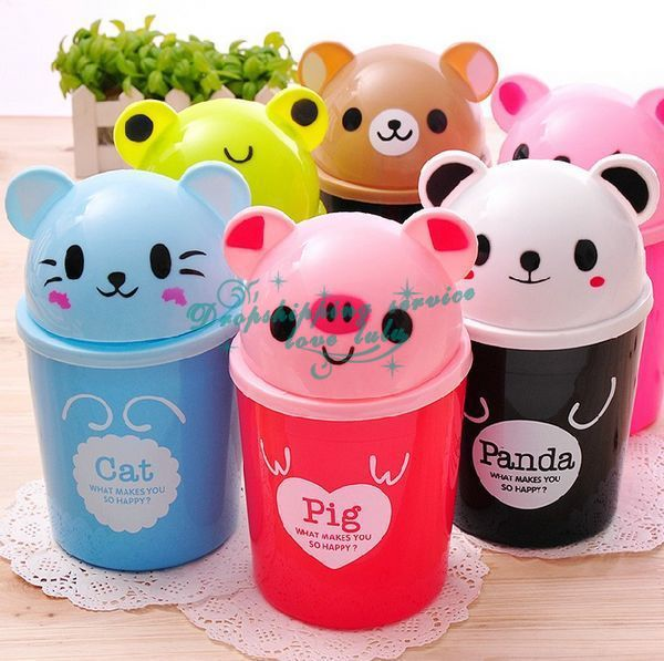 Mini multifunction desktop clamshell trash can cartoon animal storage bins pen holder Hot Drop Shipping/Free Shipping wholesale(China (Mainland))