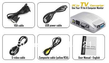 Computer Monitor Converter VGA to TV Composite S Video Signal Converter