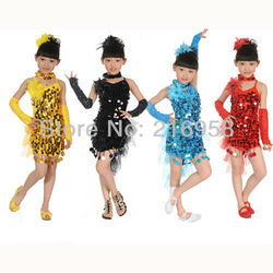 girl bling Latin dancewear fashion kid dance dress/skirt/costume/suit with paillettes child glitter stage perform wear(China (Mainland))