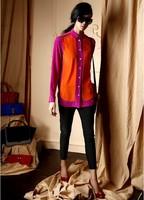 Freeshipping 2014 new fashion Orange stitching long sleeve blouse loose shirt  women chiffon shirt designer clothing