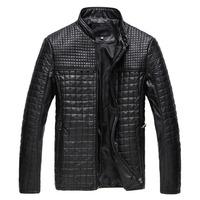 Free Shipping! men stylish PU Plaid leather Long sleeve Jackets.Autumn Winter Men Thick Coat Plus Size M L XL 2XL 3xl 4x 5xll