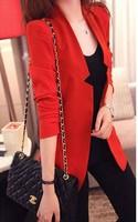 FREE SHIPPING Women's 2014 spring slim plus size suit outerwear spring and autumn summer women's medium-long blazer jacket  T204