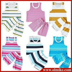 20pcs / lot sale boy's girl children cotton stripes sets kids pajamas infants young baby vest pants color randomly free shipping(China (Mainland))
