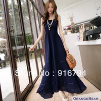 Free shipping! women's spaghetti strap lace decoration bohemia one-piece dress full dress 11201