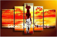 5 Pcs Wall Hunging Oil Painting Canvas Home Decoration Abstract Impressionist India Women Red Orange Picture pt186