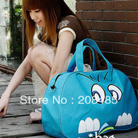 2013 Free shipping summer spring blue big cat large capacity women totes canvas travel bag sports bags