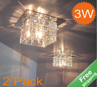 LED Crystal Ceiling lamp+ 3W led +110-240V+ surface or embedded mounted for option+2 Pcs/Lot+Free shipping