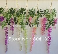 "New Arrivals 16pcs 110CM/1.1M/43.3"" Artificial Fabric Good Quality Wisteria Flower Garlands Bean Silk Vine Decorative Flowers"
