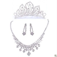Wedding Gift Crystal Bridal Jewelry necklace earrings Crown free shipping 11 1