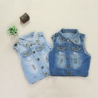 2013 European American Style Women's Washed Frayed Hole Denim Cotton Vest Fashion Silver Rivet Spliced Scratched Denim Jackets