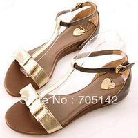 Free shipping!!! 2013 summer sweet Bowtie flat heel sandals for women/girl, Fashion&Elegant office lady sandals/flats, 4 colors