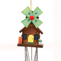 Hand-painted cabins wind chimes ornaments metal tube wind chimes ornament pendant gift