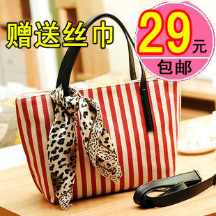 2013 women's handbag stripe handbag casual canvas bag large travel bags silk scarf(China (Mainland))