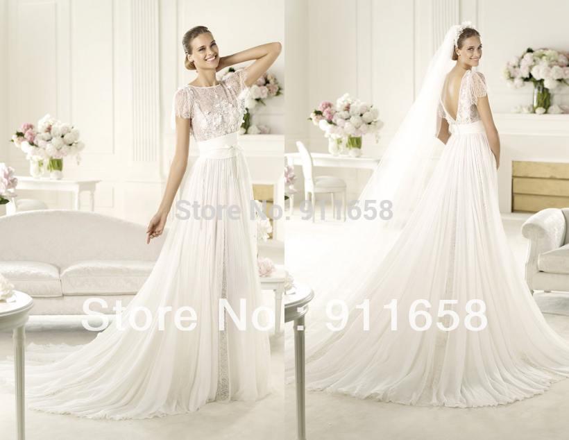Short Sleeve Empire Line Wedding Dress