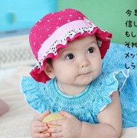 5PCS/LOT Free shipping 2013 Korean girls baby bucket hats dot children hat baby sun cap