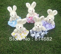 Wholesale 10CM Mixed Colour Mini Plush Toy Doll Rabbit With Rhinestone for wedding decoration/gadgetries