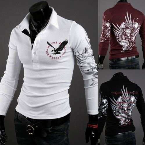 2013 men&#39;s spring foreign trade in occident wind eagle tattoo printing Men Slim long-sleeved lapel shirt shirts T-SHIRT(China (Mainland))
