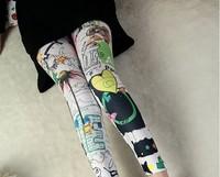 #DDK0004 Free Shipping Fashion Ladies Ink Flower Print Women Rock Punk Funky Sexy Leggings