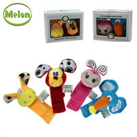 Melon gift box set animal cloth wrist length rattles watchband 0-1 year old baby educational toys super soft fabric