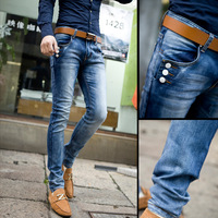 Male fashion jeans slim skinny pants male stovepipe pants denim casual long trousers