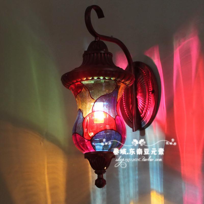 Colorful bohemia t wall lamp Southeast Asian style wall lamp free shipping(China (Mainland))