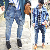 2012 autumn harem pants men's blue denim casual harem pants skinny jeans pants male