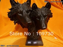 "bh 0022 free ship 13""Lifelike Eximous Bronze Marble Two wolf caput Statue(China (Mainland))"