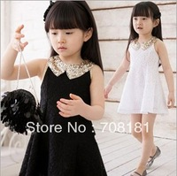 hot sale Summer 2013 new  two color girls Bud silk condole belt vest dress for 2~6year Girls dress Girls Dresses Girl's clothing