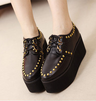 2013 women's spring shoes wedges single shoes rivet platform shoes platform flat female shoes