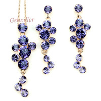 Free Shipping Italina Rigant Purple Necklace and Earring set wholesale 18k Rose Gold Plated Crystal Jewelry Sets Birthday Gift