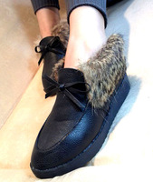 2012 trophonema autumn and winter rabbit fur flat women's wedges shoes boots platform shoes women's shoes