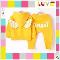2013 Children clothes Suit angel wings set boy girl Baby Set 2 pieces set of Hoodie+pants kids clothes 3 color 5 set/lot
