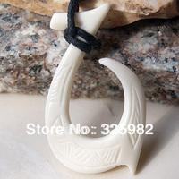 Hawaiian Surfer Style New Zealand Maori Handmade Carved Ox Bone FISH HOOK Pendant  Choker Necklace