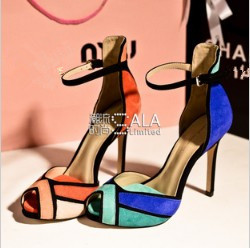 Brand 2014 new arrivals bump color thin heel fish mouth follow sandal for women high heel stiletto sandals summer shoes