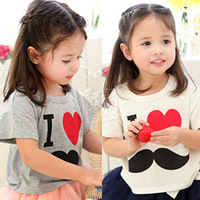 "Free Shipping Girl ClothesT-shirt, ""i love "" T-Shirt Boy & Girl Short-Sleeve Shirt,Dovetail Type Girls Clothing F13635"