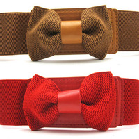 2013 new  women's cummerbund waist belt Stretch Bowknot Bow Tie Belt Waistband Many Colors.Free shipping!!!
