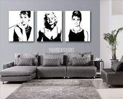 3 Piece Abstract Wall Art Marilyn Monroe Audrey Hepburn Oil Painting On Canvas Wall Art Figure For Home Decoration picture(China (Mainland))