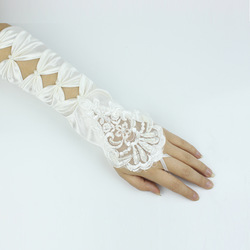 New arrival bride long design embroidered lace satin gloves formal cheongsam wedding(China (Mainland))