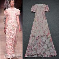 SALE Fashion women's 2013 ruslana korshunova spring puff sleeve princess wind slim flower full lace dress powder