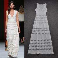 SALE Fashion 2013 ruslana korshunova women's summer sexy V-neck high waist embroidery white one-piece dress full dress