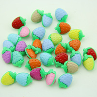 Free shipping 100pcs Lovely color strawberry resin button 11x15MM (RB2C20X01) garment accessories shirt button crafts
